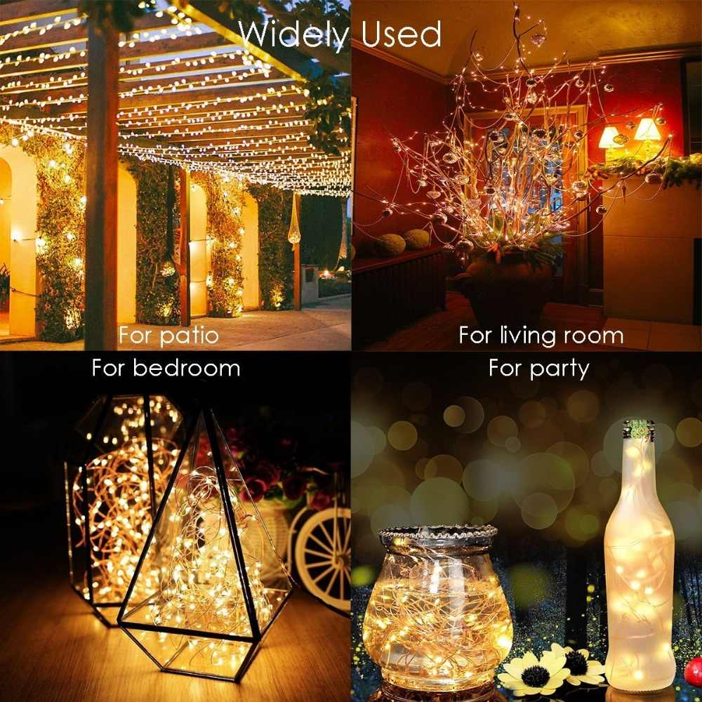 20-300LED Solar//Battery//USB Copper Wire Fairy String Lights Outdoor Garden Party