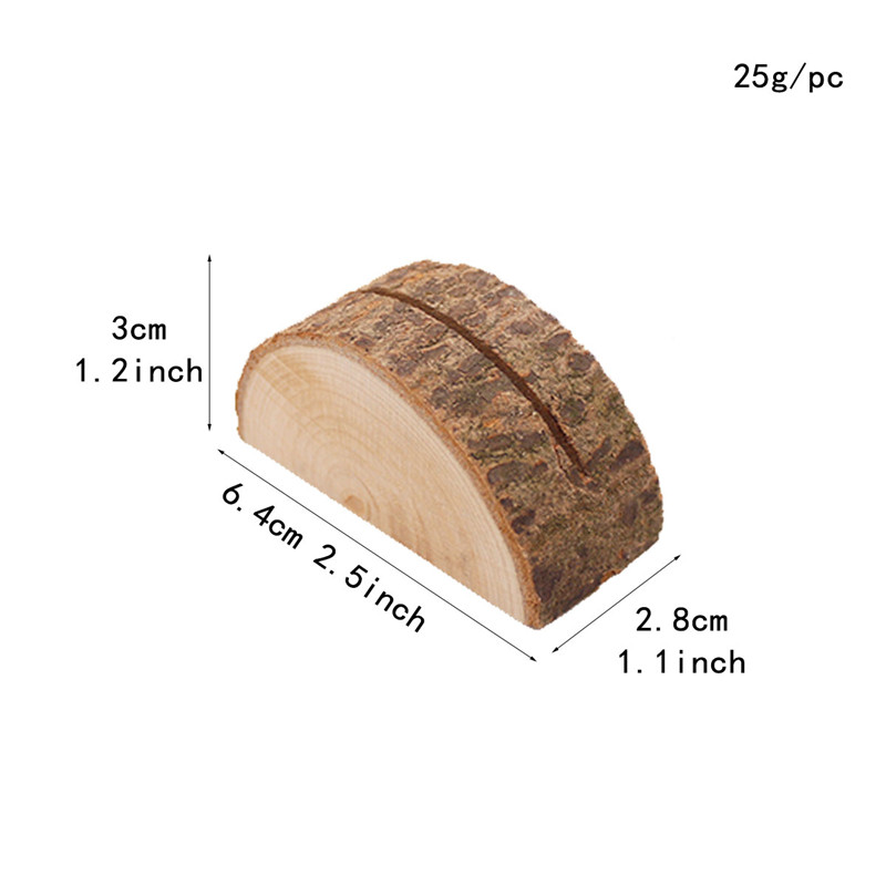 Купить с кэшбэком 20pcs/lot Natural Semicircular Wood Card Holder Wood Stump Card Holder Stand Office Desk Menu Photo Clips Wholesale