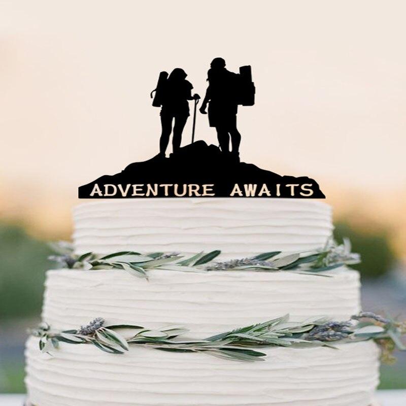 Wedding Cake Topper Broom And Groom Adventure Awaits Cake Topper