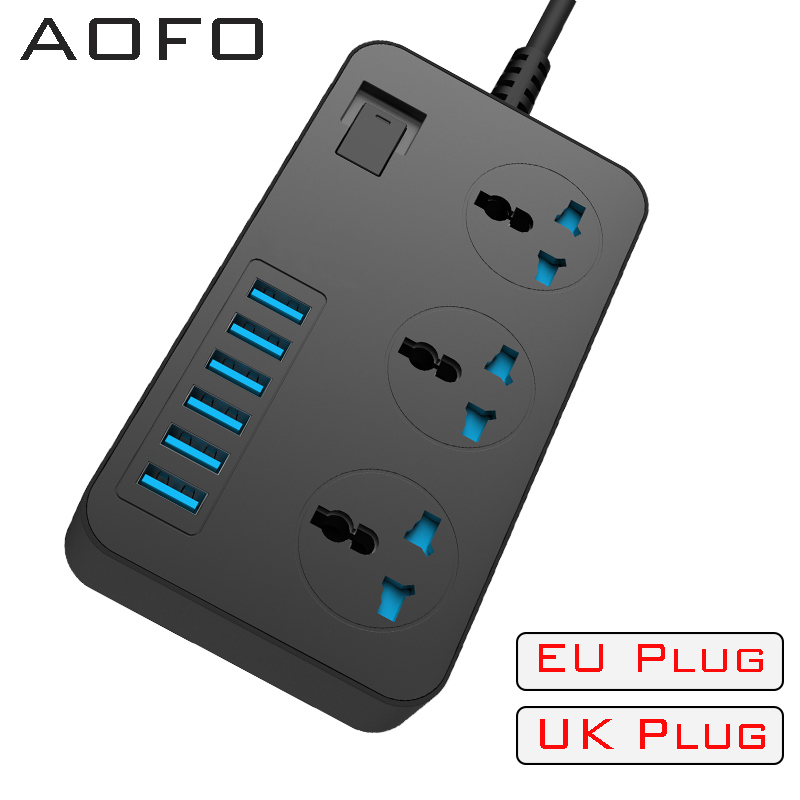 Power Strips with 3 Outlets 6 USB Ports Surge Protection Universal Socket 2M Extension cord Smart charger