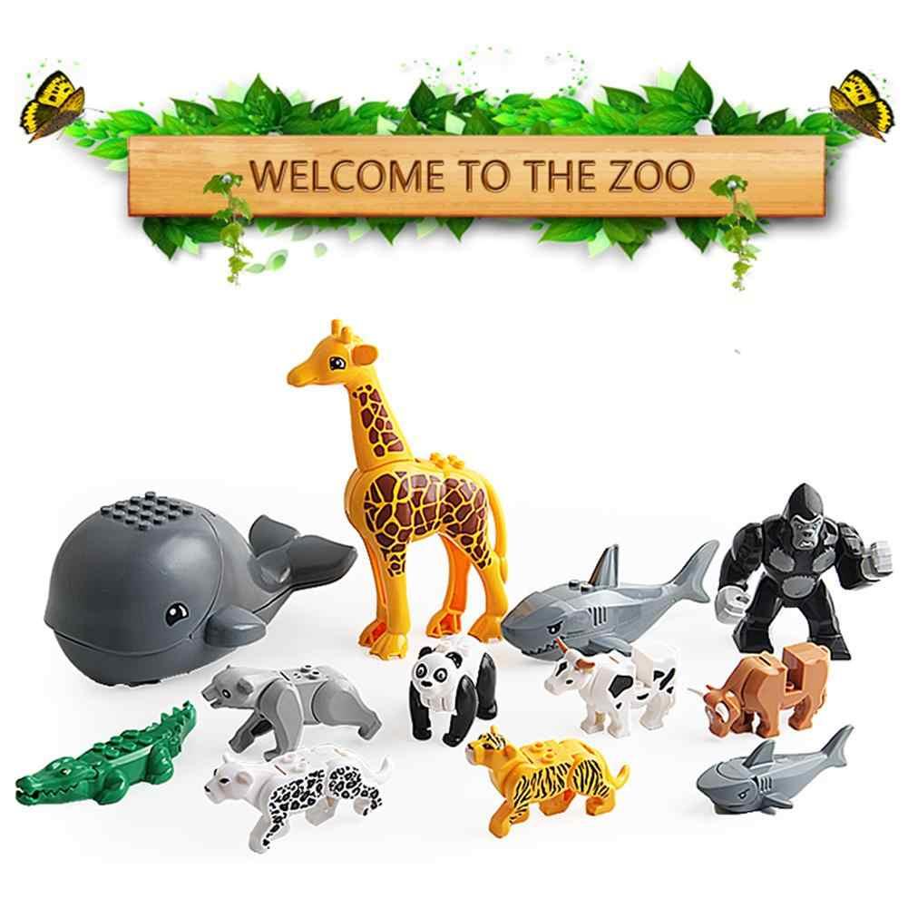 12 pçs/set Série Animal Modelo Figuras de Animais Grandes Blocos de Construção Brinquedos Educativos Para Crianças Crianças Dom Compatível Para Legoed