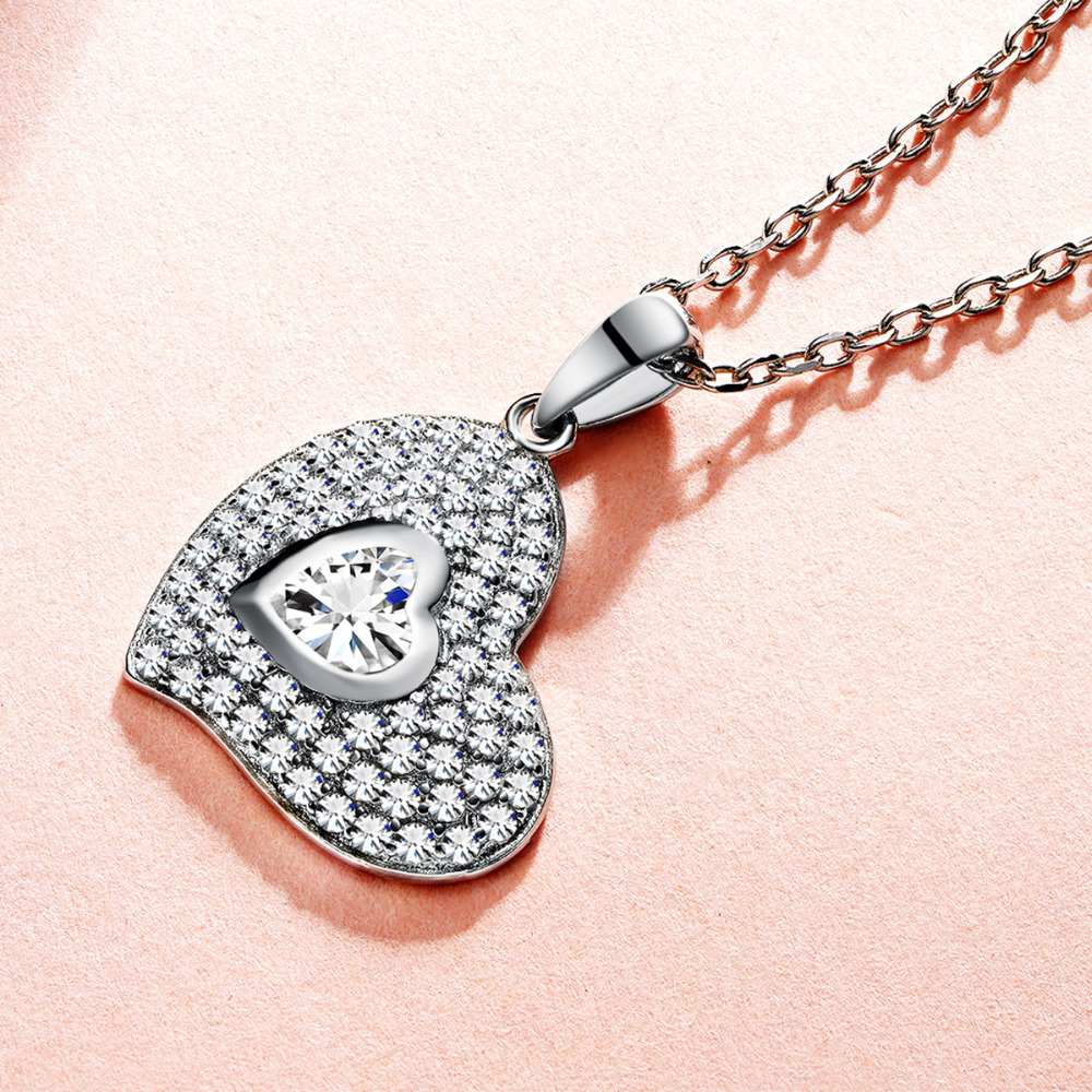 2019 New Arrival Women Pendant Necklace Heart Crystal Pendant Chain 925 Sterling Silver Jewerlry for Girls Lover Valentine' Gift