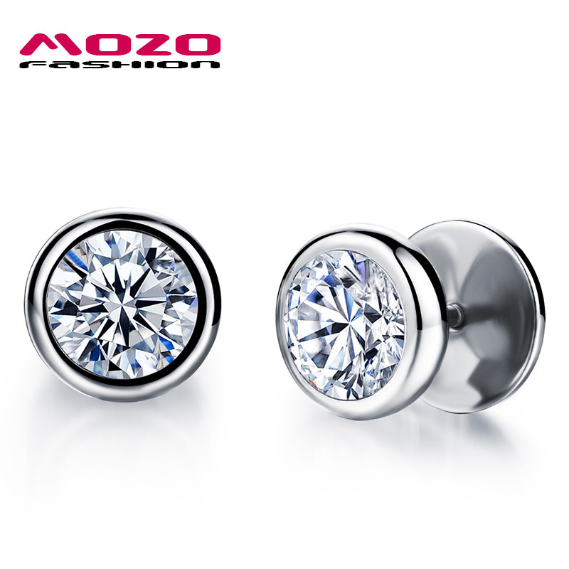a1675ce811e9a MOZO FASHION Man Earring Black/Silver Stainless Steel Cubic Zirconia ...