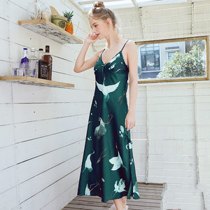 Image 3 - Women Robe Silk Women Sleepwear Sexy Female Robe Kimono Satin Flower Printing Bath Robe 2019 Summer Dressing Gown Home Wear