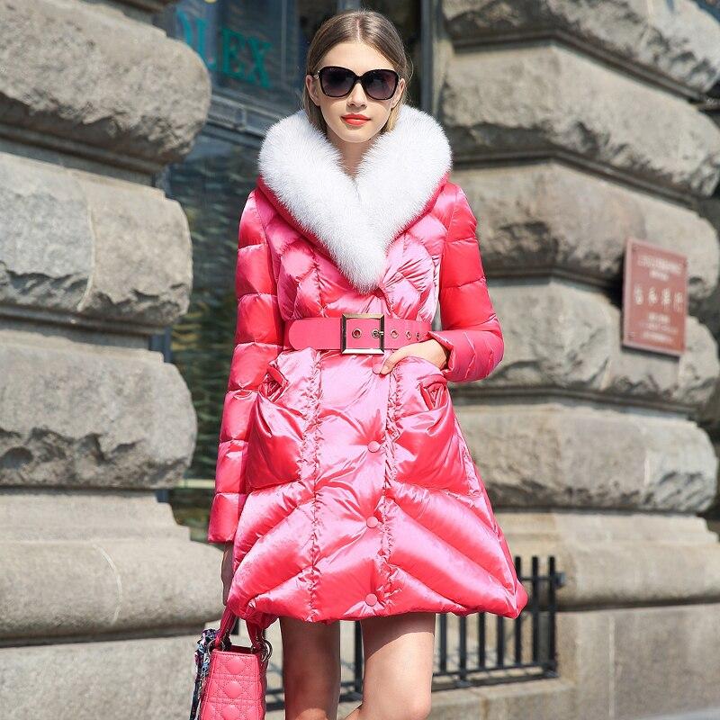 Femme Blue pink Manteau Renard De blue Gare Col Long Black Épaississement Féminine Doudoune 2018 Hiver En light Europe Mince Veste Fourrure Nouvelle 5RqBn1Fa
