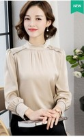 2019 новый чистый цвет темперамент шелковая рубашка женские длинные рукава воротник профессиональный рубашка шелковая блузка