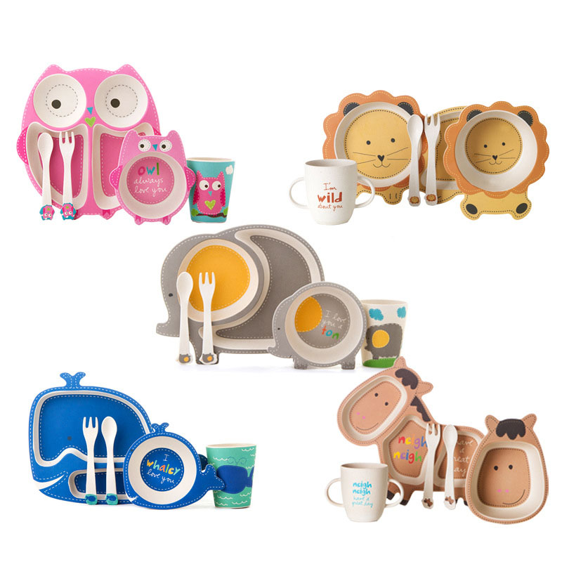 2018 Hot Bamboo Baby Dishes Bowl Cup Plates Sets 5pc/set  Cartoon Tableware Creative Gift For Infant Toddler Children Dinnerware