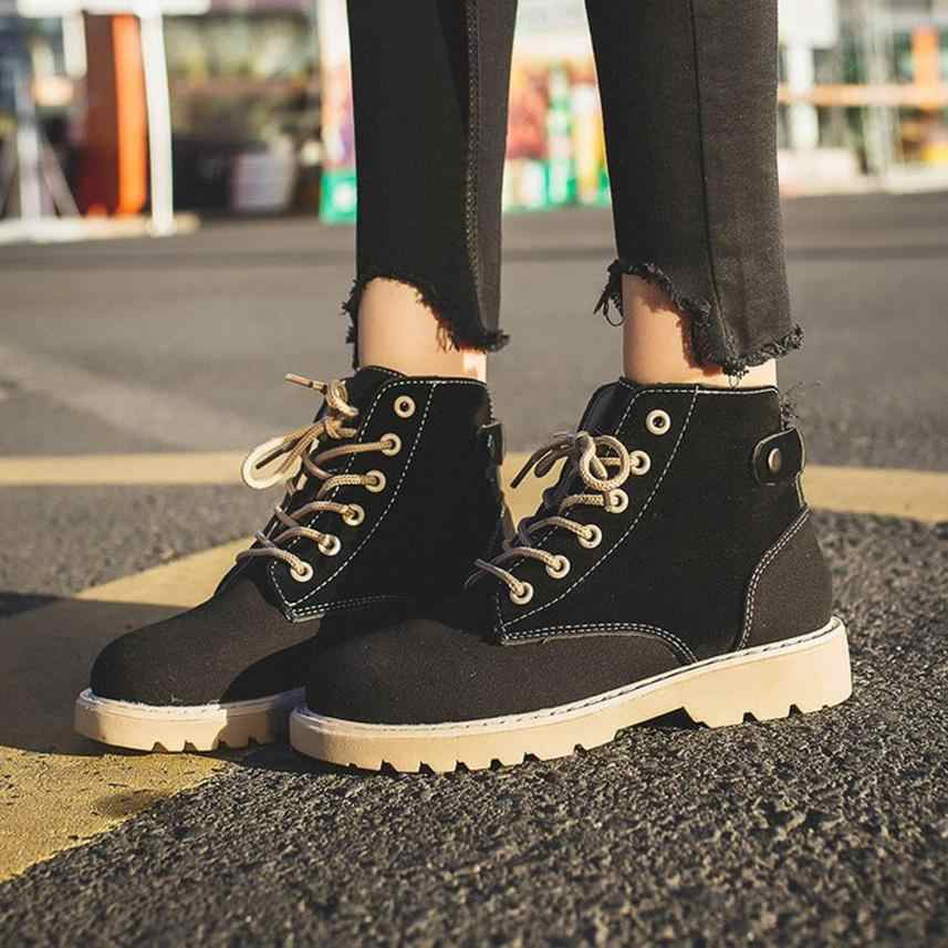 Zapatos mujer tacon 2019 bota feminina salto moda botas femininas cabeça redonda rendas martin botas de lazer sapatos tenis feminio966