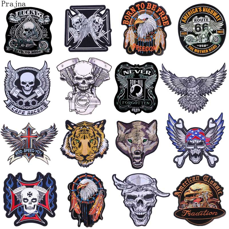 60b606b4 Prajna Large Tiger Dragon Skull Patch Morale Iron On Biker Wings Back Patch  Badge Punk Motorcycle Embroidery Patches For Clothes. US 0.72 $