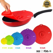 Silicone Cookware Pot Lid Cover For Pan /Pot Flower Shape Spill Stopper Cooking Tools frying pan lid cover