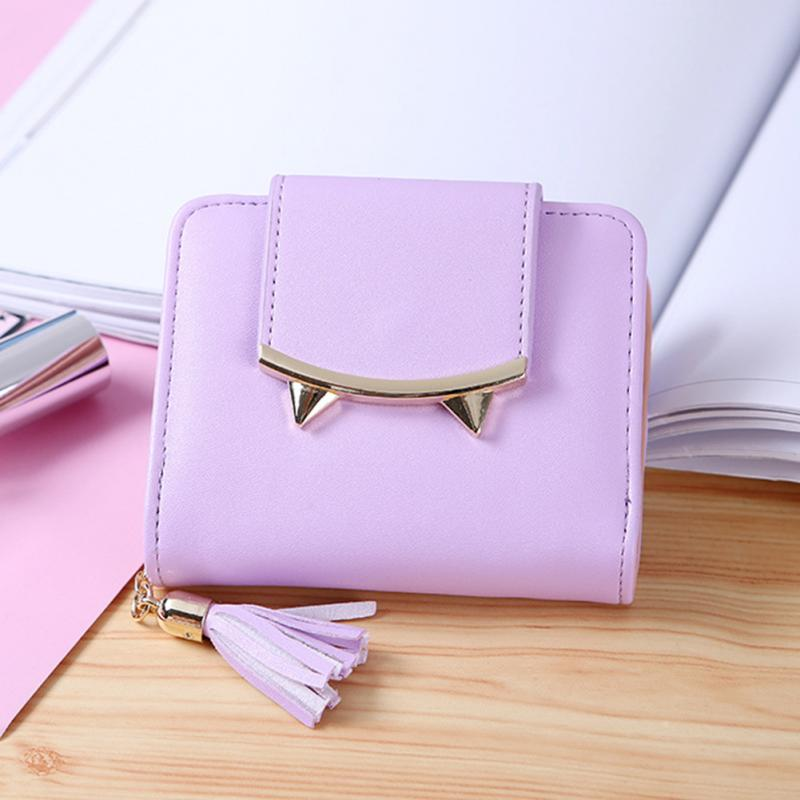 PU Leather Kawaii Tassel Short Wallet Women Bifold Hasp Purse Small Slim Wallet Coin Purse For Girls Candy Color Card Holder