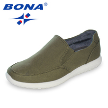 BONA New Typical Style Men Canvas Shoes With Elastic Band Men Footwear EVA Outsole Comfortable Shoes Light Fast Free Shipping