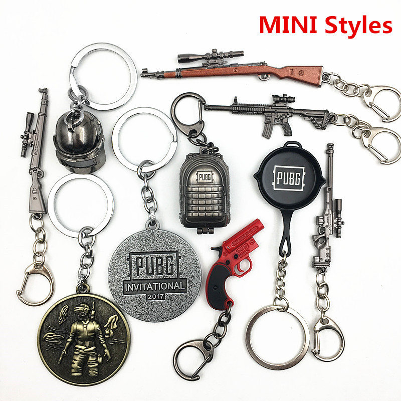 PUBG Cosplay Costume Keychain Movable Helmet Backpack Pan Alloy Model Key Chain llaveros 98K AWM Mini Pendant llaveros(China)