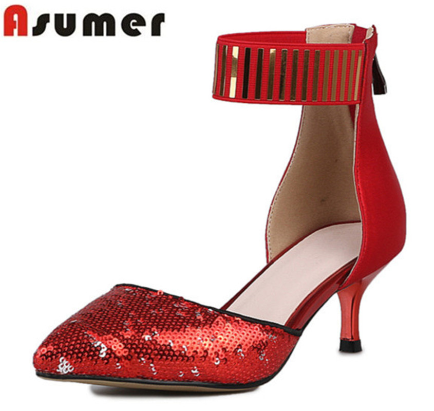 Asumer 2017 new arrive women pumps fashion pointed toe zipper summer single shoes sexy lady two piece bling med heels prom shoes fashion new spring summer med high heels good quality pointed toe women lady flock leather solid simple sexy casual pumps shoes