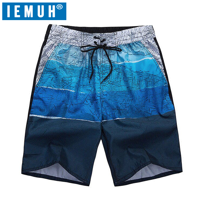 IEMUH High Quality L-6XL Men's Shorts Surf Board Shorts Summer Sport Swimming Beach Bermuda Short Pants Quick Dry Boardshorts