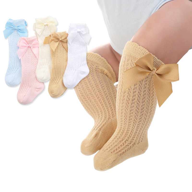 Cute Bowknot Baby Socks Cotton Baby Girls Knee Socks Spring Summer Mesh For 0-2Y