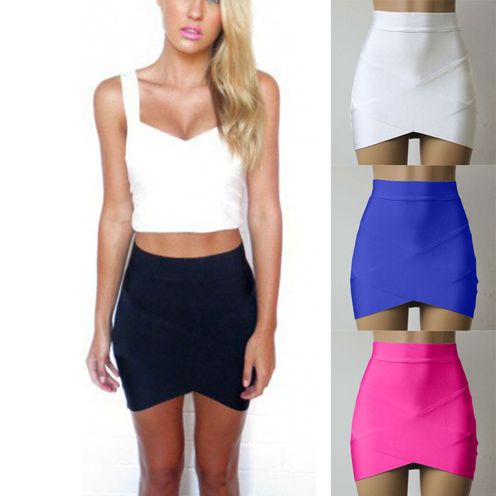 Womens Mini Skirt Fitted Wiggle Skirt Asymmetrical Hem -3557