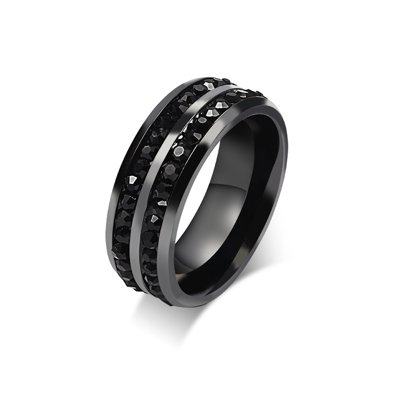 vintage punk black ring full double lines cubic zirconia rings for men fashion jewelry anel masculino