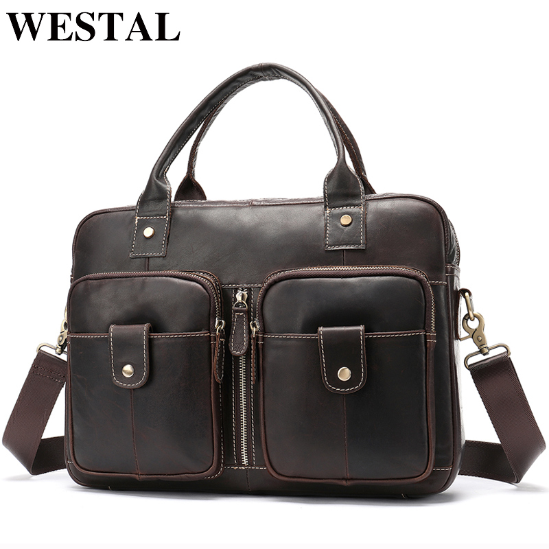 WESTAL Men's Bag Genuine Leather Men Briefcases For Laptop Bag Leather Document Bags Office/Computer Bags For Men Totes  8539