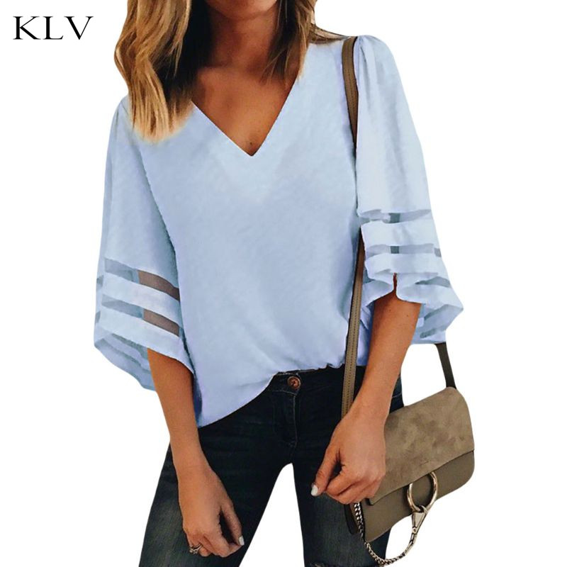 Women's Clothing Hearty Womens Sexy Deep V-neck Solid Color Mesh Splicing Striped 3/4 Bell Sleeves Oversized Loose Pullover Tops Casual Blouse 2019 Official