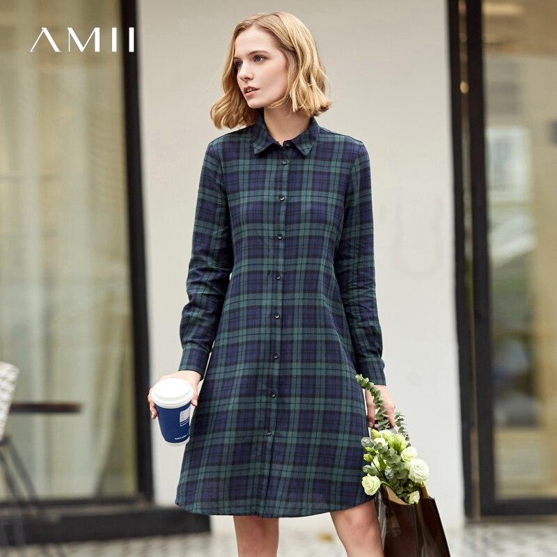 Amii Minimalist English Plaid Dresses Women 2019 Causal 100 Cotton Long Sleeve Vintage Shirt Dresses