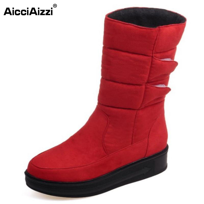 2016 Fashion Waterproof Snow Boots Women's Mid Calf Boots Flat Winter Botas Mujer Platform Fur Shoes Woman Size 30-52