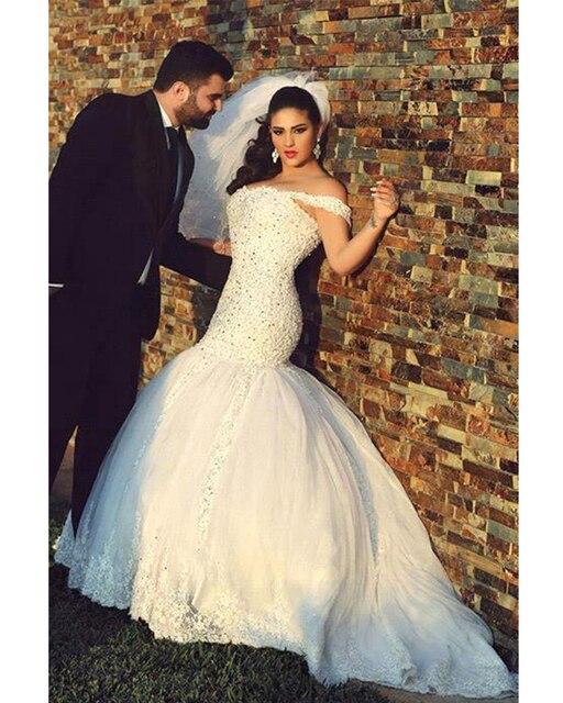 Noble Graceful Arab Beaded Crystals Lace Mermaid Princess Wedding ...