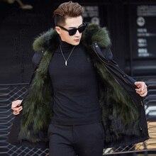 Новинка, зимнее пальто из натурального меха енота, Мужская теплая Толстая куртка, Повседневная Большая Меховая куртка с капюшоном, мужские парки размера плюс 4XL