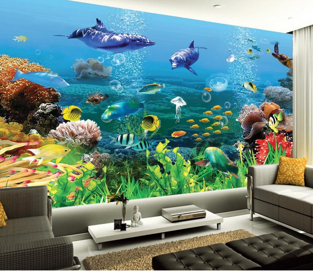 Custom Photo Wallpaper Large 3D sofa TV Background Wallpaper Mural Wall Underwater World seabed shark 3D Mural Wallpaper large mural wallpaper wallpaper ktv theme hotel restaurant 3d d poster three shark underwater world