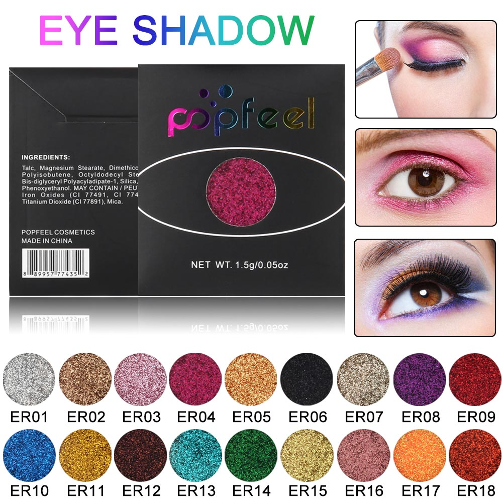 <font><b>18</b></font> colors Single Color Shiny Eyeshadow Palette Makeup Glitter Blingling Eye Shadow Powder Cosmetics image