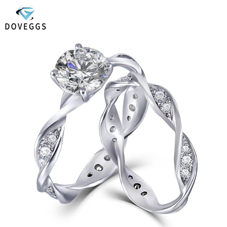 DovEggs 14K White Gold Moissnaite Bridal Wedding Ring Set for Women Gift 1ct 6 5mm F Color Moissanite Engagement Ring Set in Rings from Jewelry Accessories