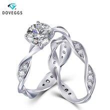 DovEggs 14K White Gold Moissnaite Bridal Wedding Ring Set for Women Gift 1ct 6.5mm F Color Moissanite Engagement Ring Set moissanite ring 14k rose gold 1 5ct 9x6mm pear cut moissanit engagement ring set bridal ring set for women