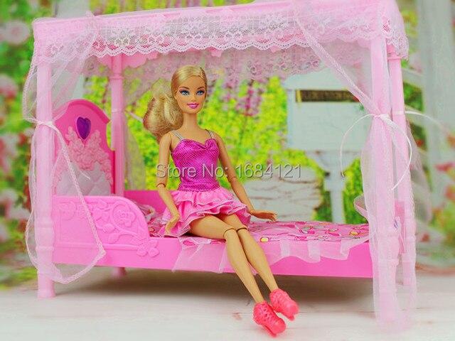 Бесплатная Доставка, Нового прибытия Рождество/Подарок На День Рождения Дети Играют Набор Принцесса Спальня Аксессуары Для Куклы Барби, играть дом