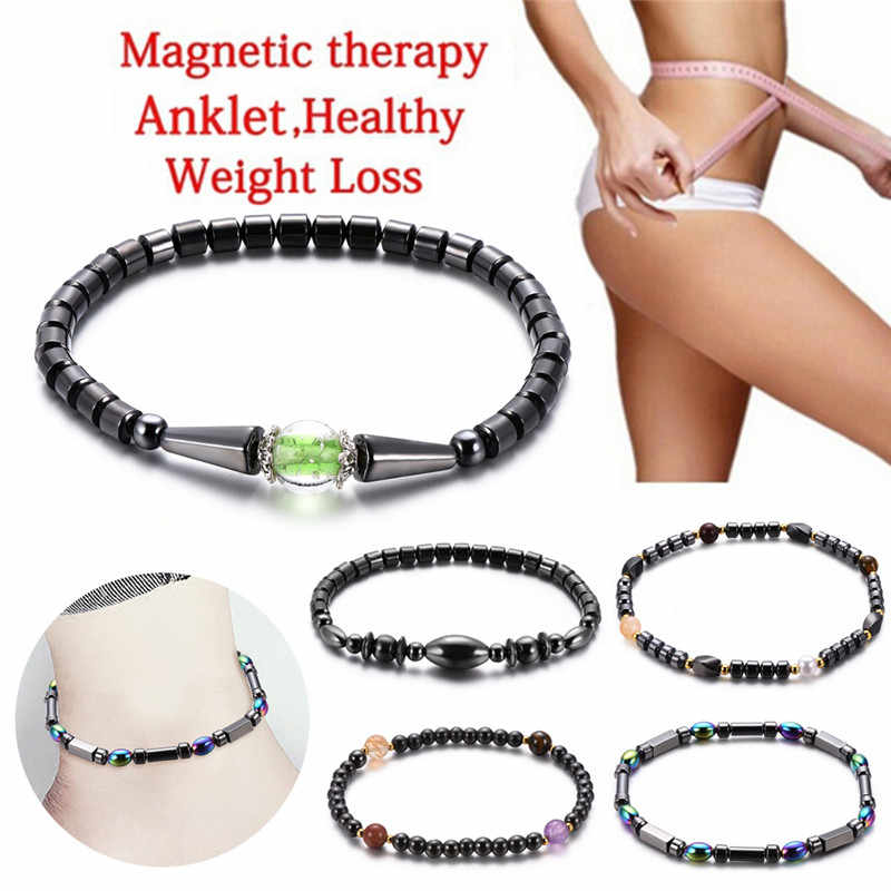Magnetic Therapy Bracelet Anklet Weight Loss Product Slimming Health Care Jewelry Weight Loss Magnet Anklet Colorful Stone