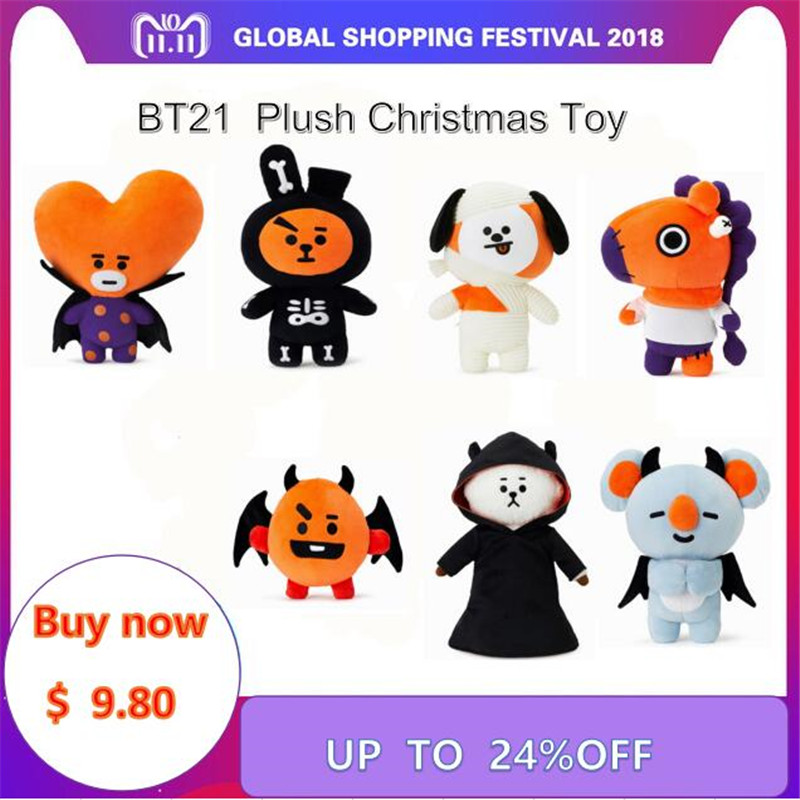 Bangtan Boys Around BTS Halloween BT21 Same Q Version Cartoon Doll TATA COOKY CHIMMY Plush Toy For Children BTS Christmas Gift гирлянда электрическая vegas нить с контроллером 100 ламп длина 10 м свет синий 55066