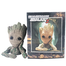Model Asli Tanaman Bunga Pot Drop Shipping Tangkai Pohon Pria Pahlawan Kreatif Guardians Of The Galaxy Kerajinan Figurine(China)