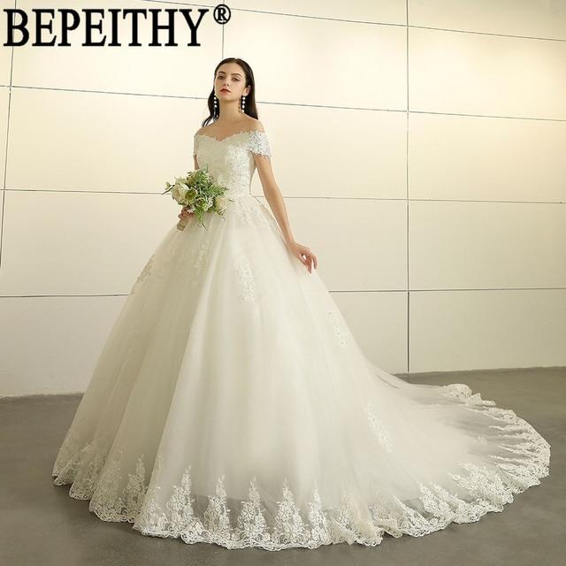 d8af018165 BEPEITHY Vestido de novia elegante de apliques de hombro de cuentas de  encaje tul Vestido de