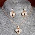 O design surpreendente Banhado A Ouro das Mulheres/'s Girl encantador coração opal CZ Cadeia Colar + Brincos Conjuntos de Jóias de Casamento presentes