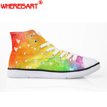 hot deal buy whereisart 2018 fashion rainbow canvas shoes for women high top lace-up vulcanize shoes woman spring casual shoes sneakers girl