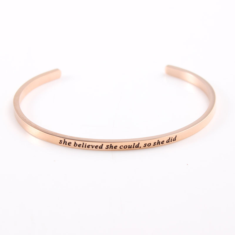 2017 New Rose Gold 3.2mm Stainless Steel Band Engrave She Believed She Could so She Did Cuff Friendship Bangle Mantra Bracelet