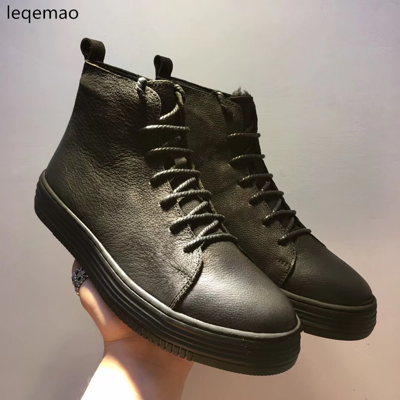 New Fashion Men Basic Black Winter Warm Fur Inside High-Top Nuduck Genuine Leather Luxury Brand Trainers Snow Boots Flats Shoes free shipping biometric reader for access control rs485 reader with high quality mg236