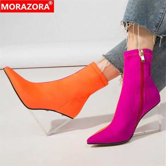 MORAZORA/Новое поступление 2020 года; женские ботильоны; разноцветные ботинки с эластичными носками на молнии; прозрачные женские модельные туфли на танкетке для вечеринок