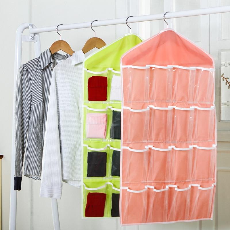 1pcs 16 Pockets Foldable Closet Hanging Bags Socks Briefs Jewelry Organizer  Clothes Hanger Shoes Underewear Storage Bag 49089