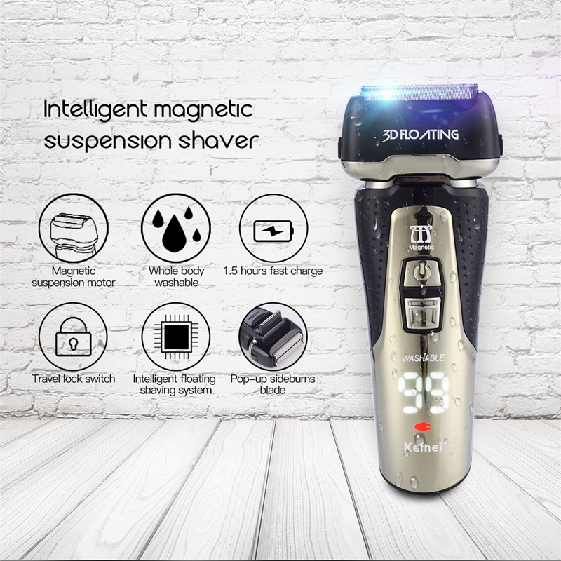 Kemi Rechargeable Shaver Razor Men Beard Trimmer Men's Electric Shaver 3D Floating Reciprocating Shaving Machine Razor navalha 220 240v kemei electric shaver men razor beard trimmer haircut 3d triple floating blade shaving machine trimmer razor barbeador