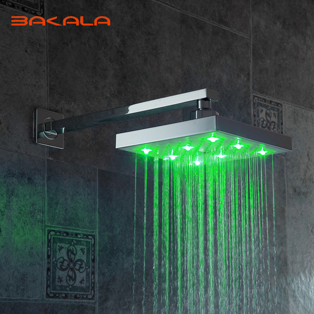 FreeShipping BAKALA New LED Light Square Rain Shower Head Bathroom Shower  Column Without The Shower Arm