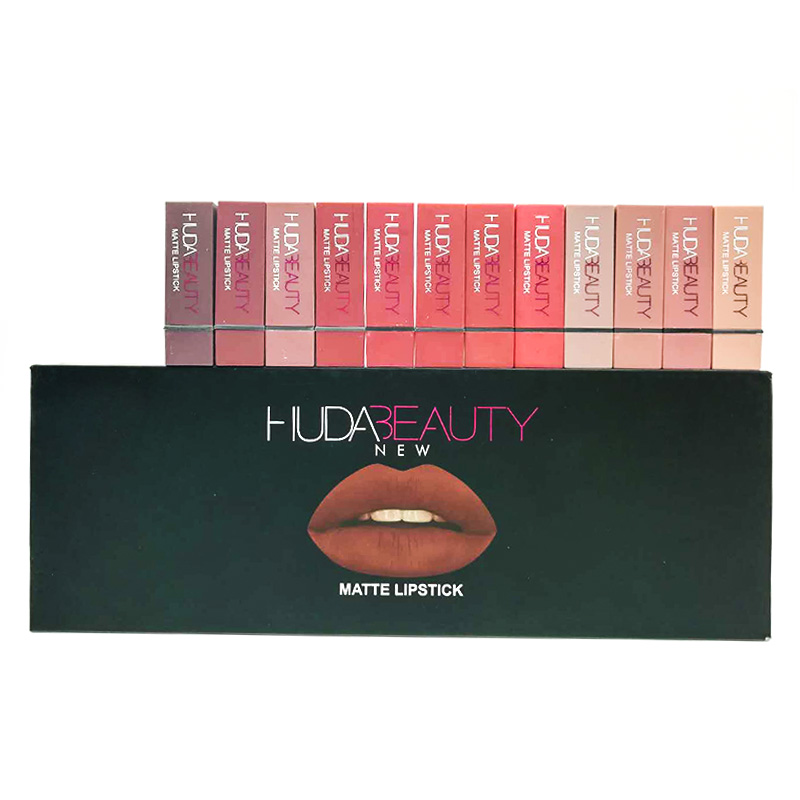 Huda Beauty Matte Lipstick Set Of 12PCS Velvet Matte Lipstick Waterproof Lipstick Sexy Nude Makeup Matte Lipstick Huda Beauty in Lip Gloss from Beauty Health