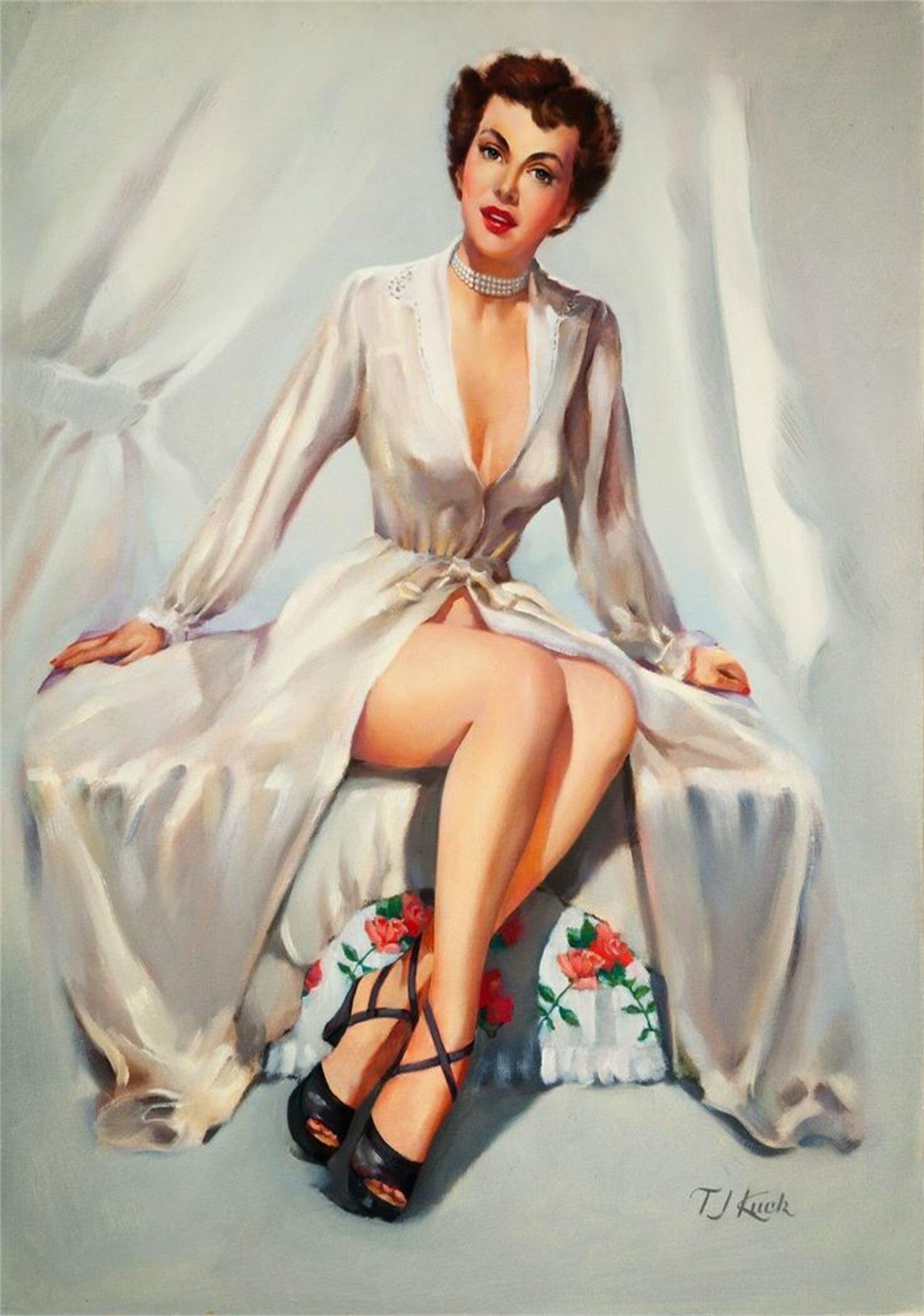 Pop Art White Robe Vintage Pin Up Girl Poster Classic