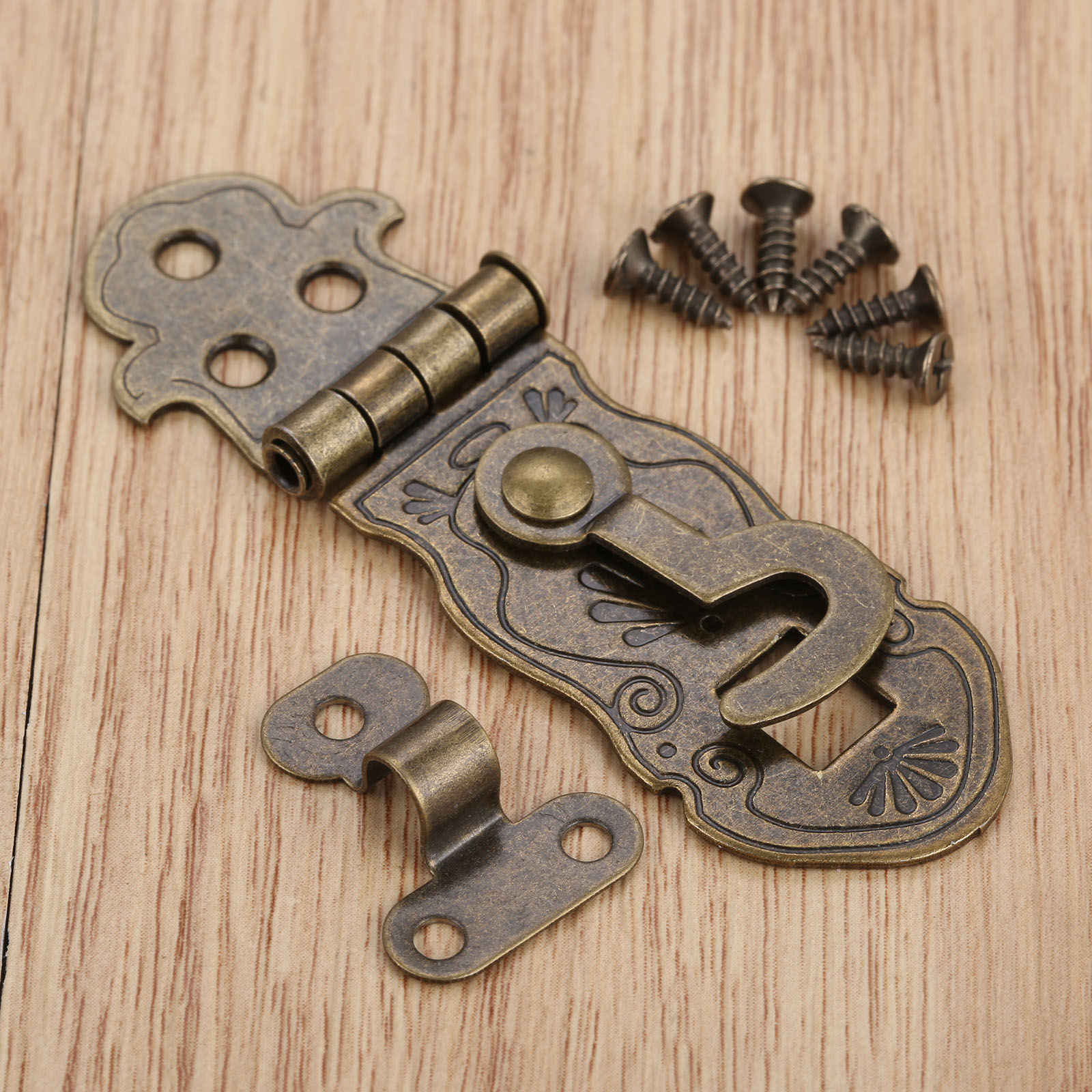 1Pc Wooden Box Toggle Lock,Box Buckles Pattern Carved Flower Book Lock Antique Bronze Tone 71x24mm