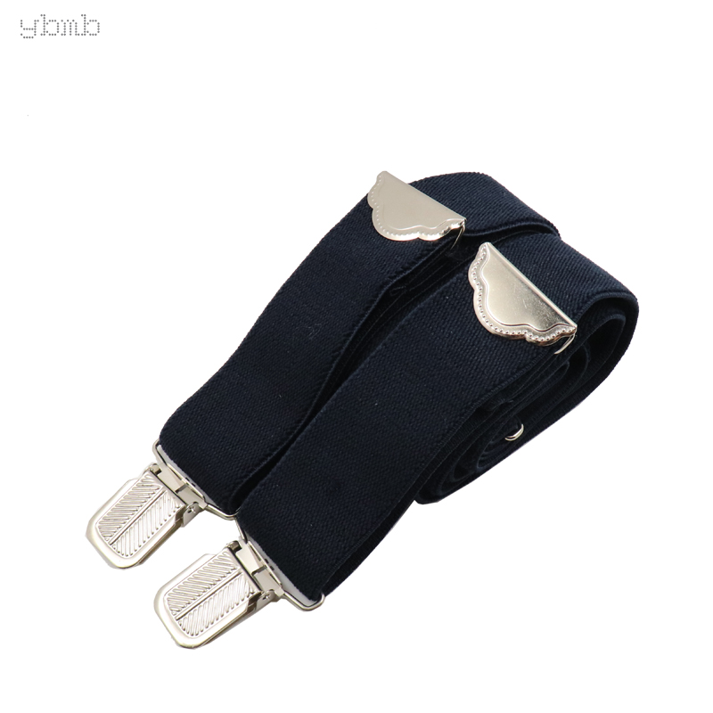 YBMB Fashion  Shirt Suspeenders Leather X-back Braces 4 Clips  Length Adjustable Casual Suspensorio Trousers Strap  High Quality