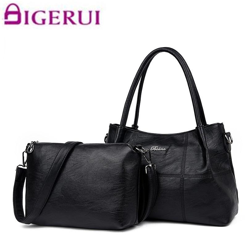 2017 Solid Plaid Composite Bags Fashion Designer Handbags Woman Noble Shoulder Bag Brand Women Large Tote Bags For Girl 2PCS/Set